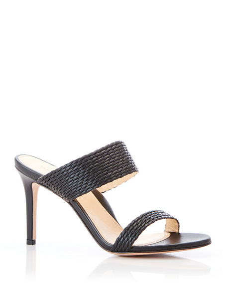 Marion Parke  FOXY BRAIDED LEATHER HIGH-HEEL SANDALS