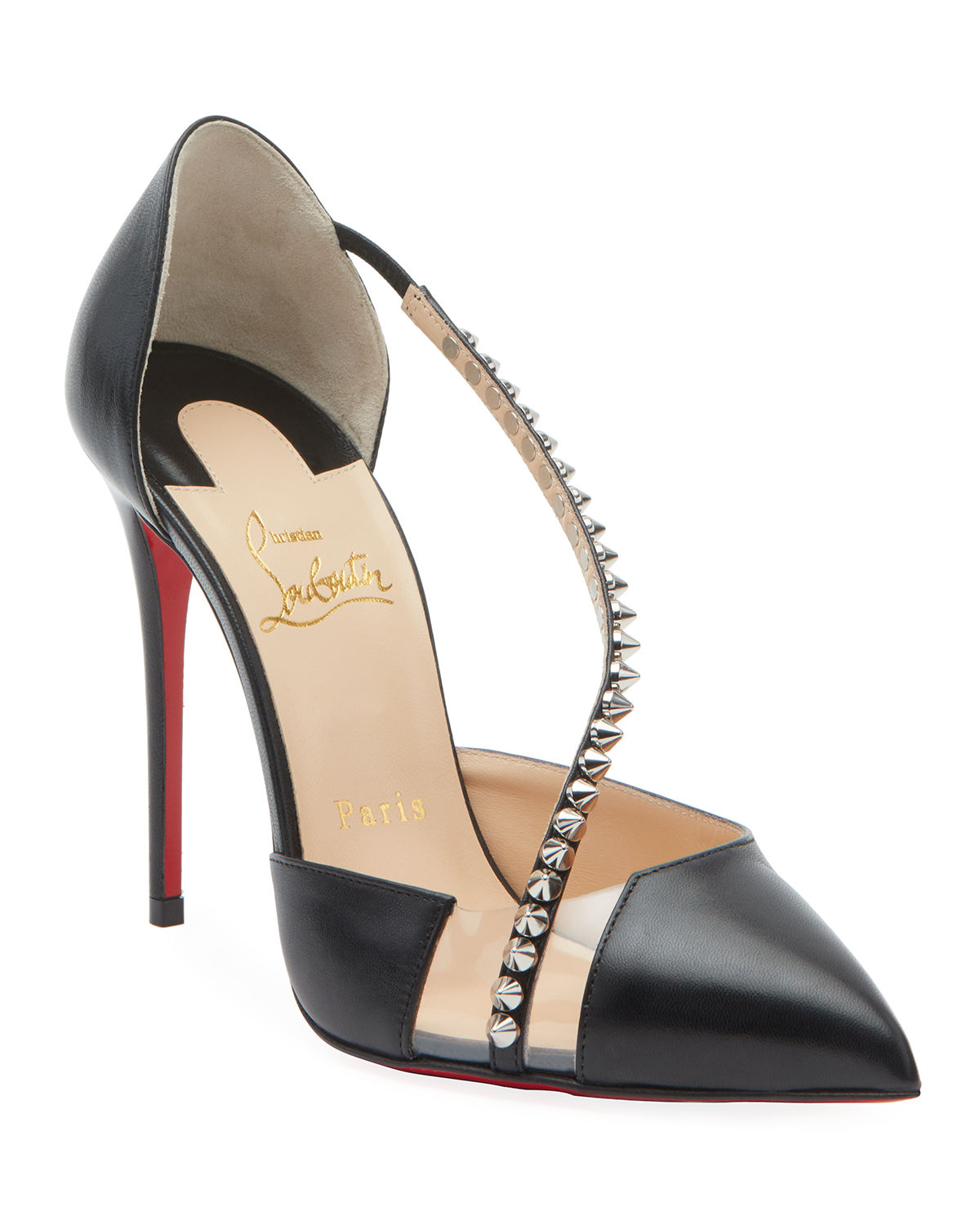 new concept a1fab c1d03 Spike Cross Red Sole Pumps