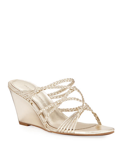 Maddie Braided Suede Wedge Sandals
