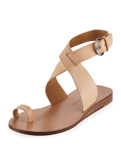 Kyra Leather Ankle-Wrap Sandals