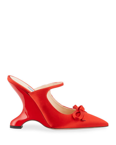 Satin Bowed Sculptural Wedge Mules