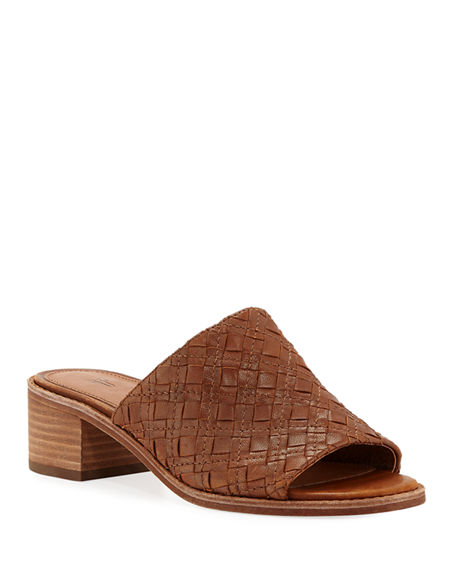 Frye Mules CINDY WOVEN LEATHER MULE SANDALS