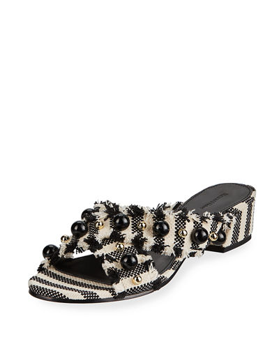 Aline Fringed Crisscross Slide Sandals