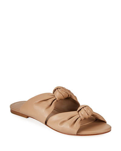 Isabelle Knotted Leather Slide Sandals