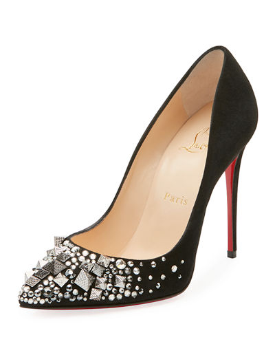 outlet store eaac3 088f6 Keopomp Velours Embellished Red Sole Pump
