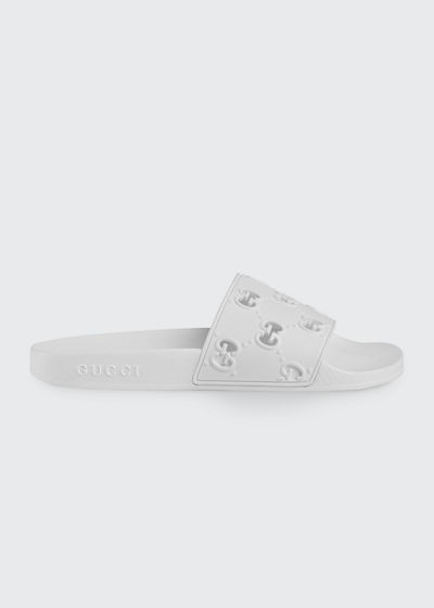 3ad5d0230 Pursuit GG Logo Pool Slides Quick Look. WHITE; PINK. Gucci