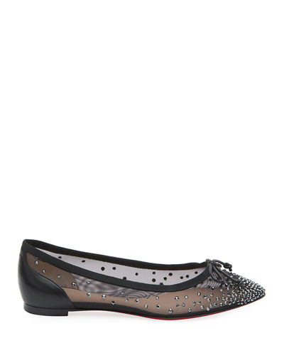 low priced e77ba fbee8 Patio Embellished Mesh Red Sole Flats