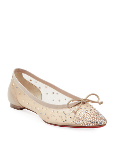 Patio Embellished Mesh Red Sole Flats