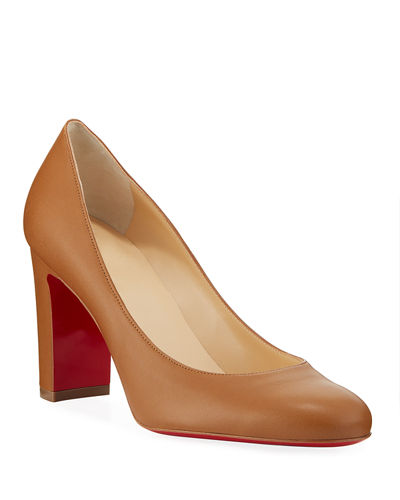 Lady Gena Block-Heel Leather Pumps