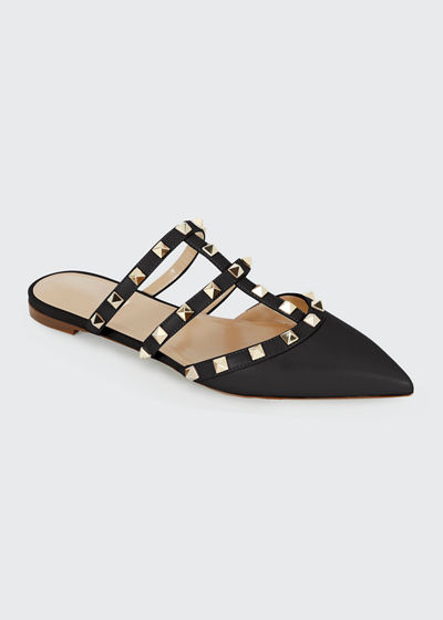 Rockstud Flat Leather Mules