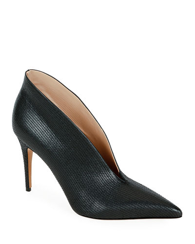 c9e0666154253 All Stitched V-Cut Leather Pumps Quick Look. BLACK  ROSE. Valentino Garavani