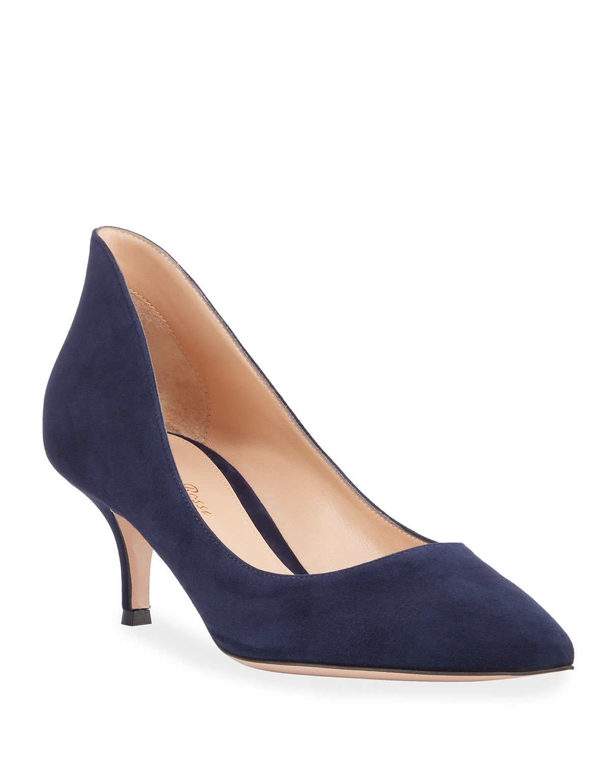 Gianvito Rossi High-Back Suede Low-Heel Pumps In Blue