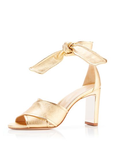 Leah Metallic Leather Ankle-Tie Sandals