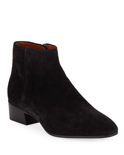 5c0964c15a04 Fuoco Low-Heel Suede Zip Booties