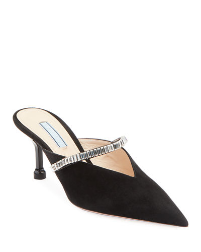Suede Jeweled Slide Mules