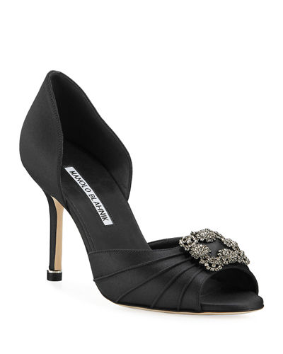 5fdecad4b8 Manolo Blahnik Open Toe Shoes. Cassiado Ornamented Satin Open-Toe Pumps