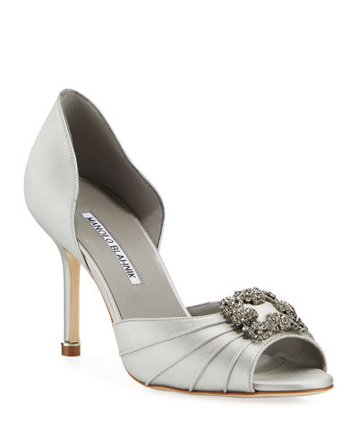 Cassiado Ornamented Satin Open-Toe Pumps