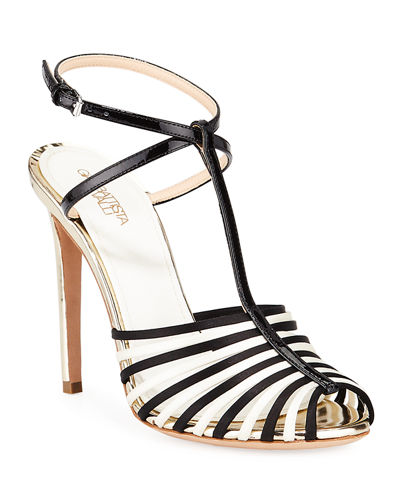 Strappy High-Heel Metallic Leather Sandals