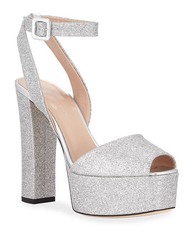 Glittered Ankle-Strap Platform Sandals