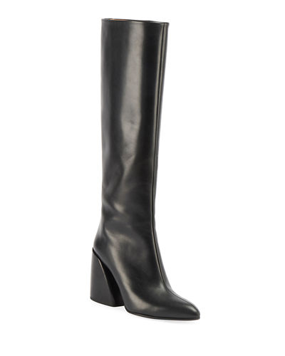 Wave Calf Leather Tall Boots