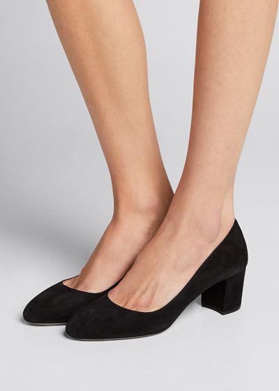 Suede Almond-Toe Pumps