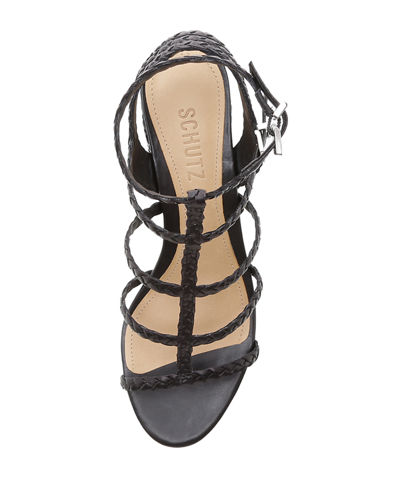 43ff80d7e7 Schutz Rosalia Braided Leather Caged Sandals