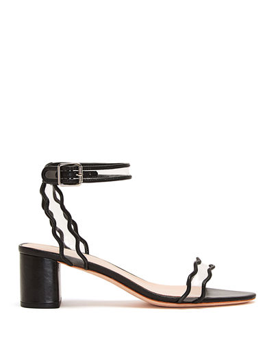 Wavy Clear-Strap Leather Sandals