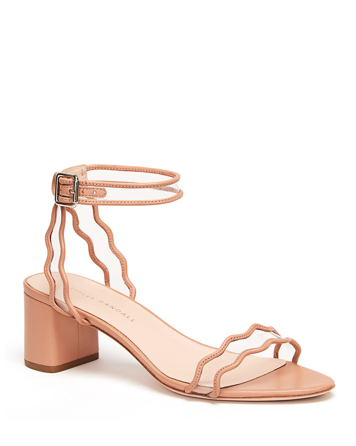 Loeffler Randall Sandals WAVY CLEAR-STRAP LEATHER SANDALS