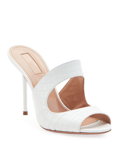 Forever Croc-Embossed Stiletto Sandals
