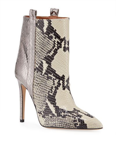 Metallic Snake-Embossed Stiletto Booties