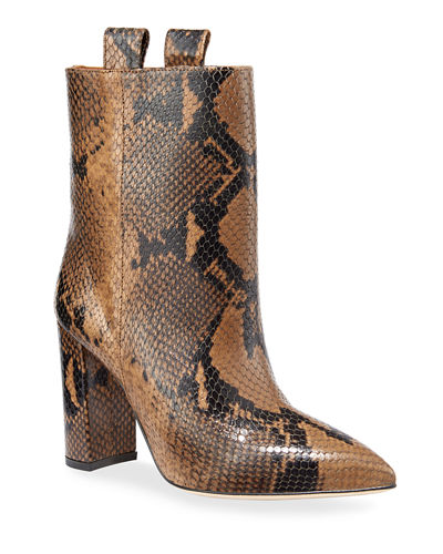 Snake-Embossed Block-Heel Booties