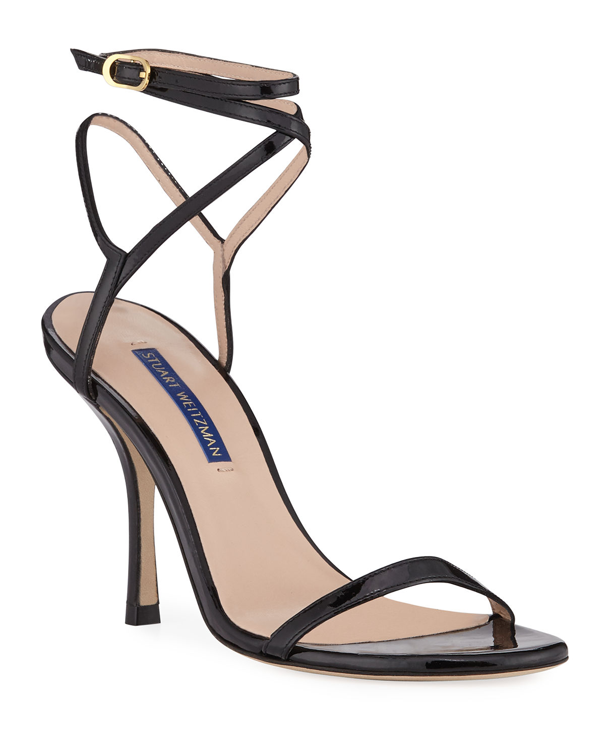Stuart Weitzman Merinda Strappy Patent Ankle-wrap Sandals In Black
