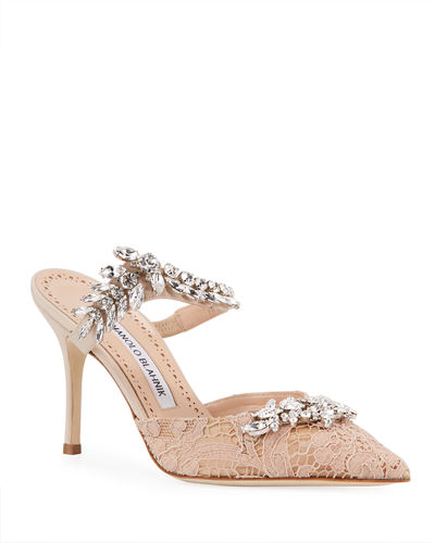 6e0ccbcc52e5 Lurum Lacy Jeweled Silk Pumps Quick Look. NUDE  BLACK. Manolo Blahnik
