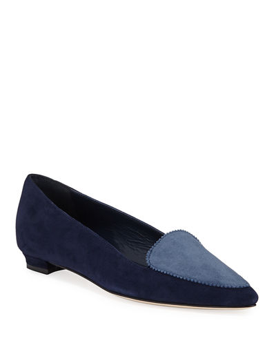 Agos Two-Tone Suede Ballerina Flat Loafers