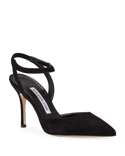 Minis Suede Ankle Strap D'orsay Pumps by Manolo Blahnik