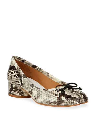 Tabi Snake-Print Ballerina Pumps with Split Toe