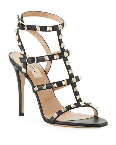 a9420ff3d Red Valentino Strap Shoes. Rockstud 105mm Caged Leather Sandal