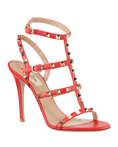 a932a898c8b5d Rockstud 105mm Caged Leather Sandals Quick Look. RED; BLACK. Valentino  Garavani