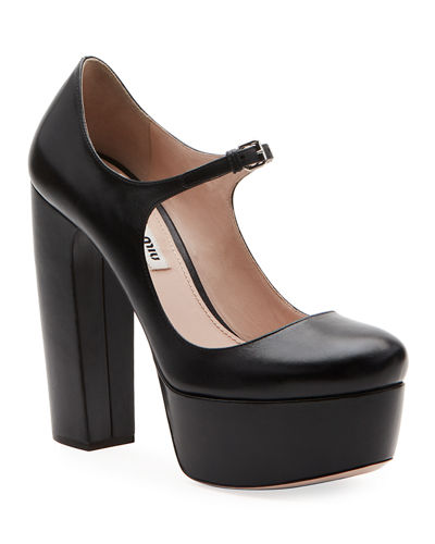 Mary Jane Leather Platform Pumps