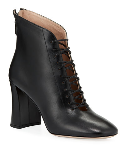 Lace-Up Leather Booties