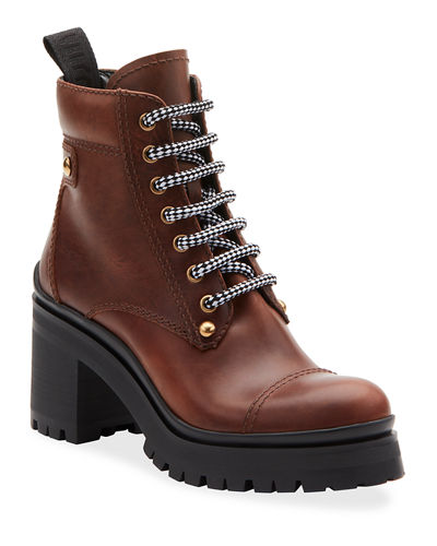 Lace-Up Leather Lug-Sole Hiker Boots