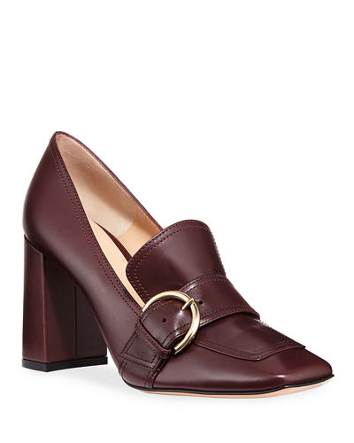 Square-Toe Loafer Pumps
