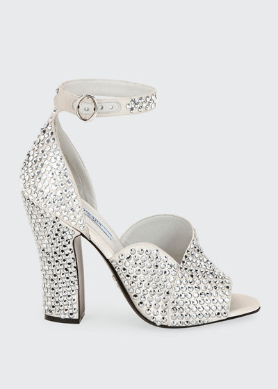 Crystal Satin Ankle-Strap Sandals
