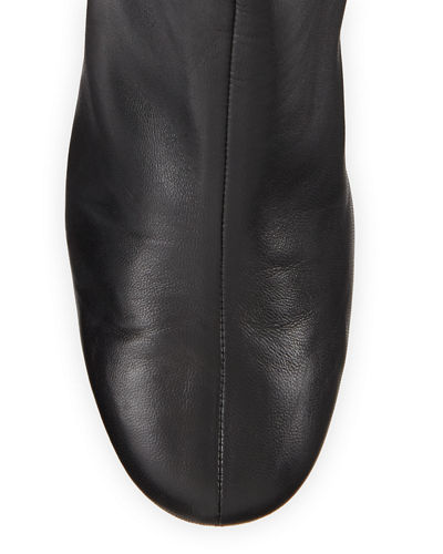Nadia Soft Leather Block-Heel Booties