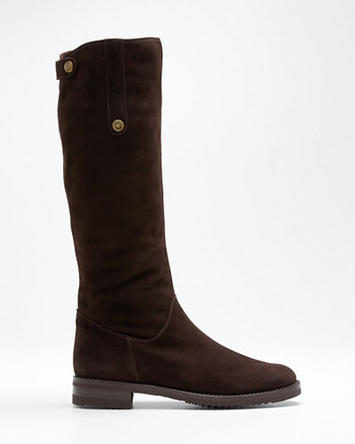 Suede Fur-Lined Tall Riding Boots