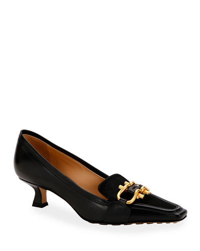 Leather and Calf Hair Loafer Pumps