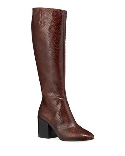 Tall Shaft Snake-Embossed Boots