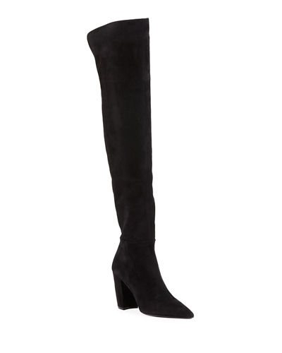 Pointed Suede Over-The-Knee Boots
