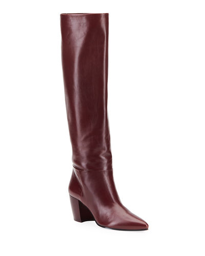 Pointed Western Leather Tall Boots
