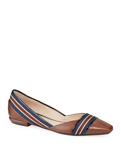 Ribbon Leather Loafer Flats